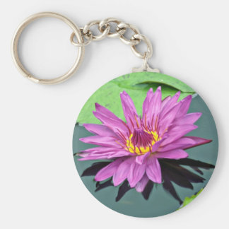 Water lily in full bloom  flowers key chain