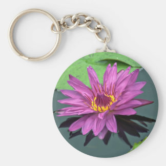 Water lily in full bloom keychains
