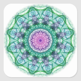 Water Lily kaleidoscope Square Stickers