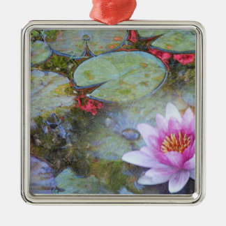 Water Lily Leaves and Flowers Metal Ornament