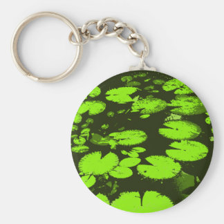 Water lily leaves black keychain