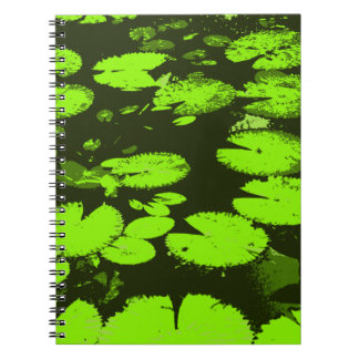 Water lily leaves black notebook