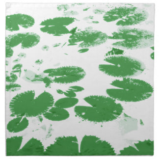 Water lily leaves white cloth napkin