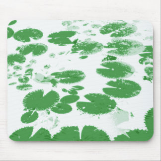 Water lily leaves white mouse pad