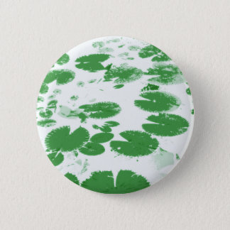 Water lily leaves white pinback button