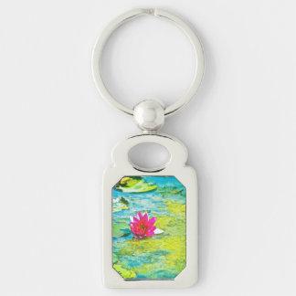 Water Lily Lilypad Keychain