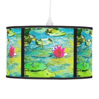 Water Lily Lilypad Hanging Pendant Lamp