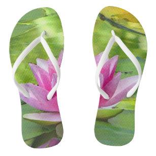 1641ce4ca552c0 Pink Lotus Flower Sandals   Flip Flops