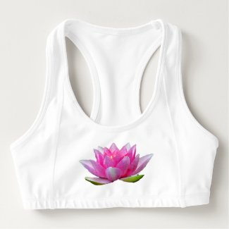 Water Lily Lotus Flower Sports Bra
