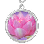 Water Lily Lotus Round Pendant Necklace