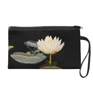 Water Lily on Black Wristlet Purses