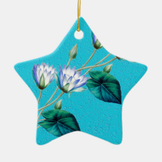 Water Lily On Blue Ceramic Ornament