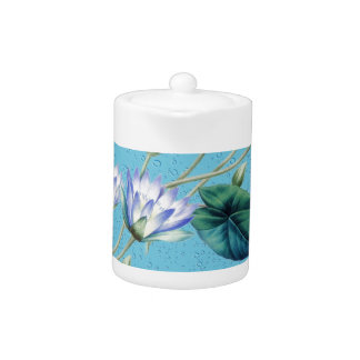Water Lily On Blue Teapot