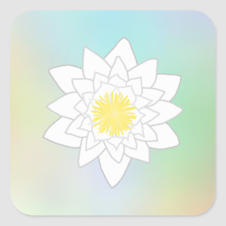 Water Lily on Pretty Pastel Background. Square Stickers