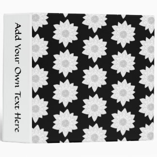 Water Lily Pattern. Black and White. Binder