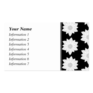 Water Lily Pattern. Black and White. Double-Sided Standard Business Cards (Pack Of 100)