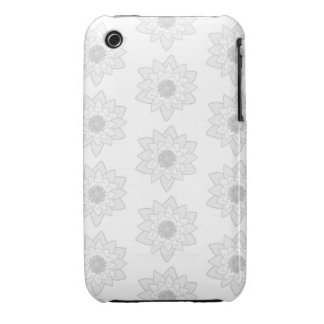 Water Lily Pattern in Light Gray and White iPhone 3 Cover