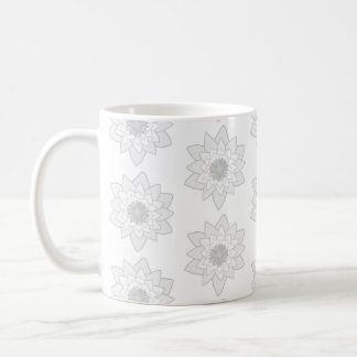 Water Lily Pattern in Light Gray and White. Coffee Mug