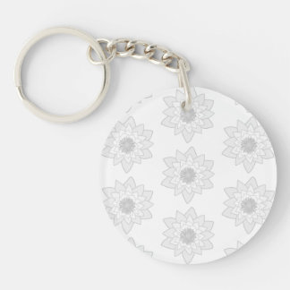 Water Lily Pattern in Light Gray and White. Double-Sided Round Acrylic Keychain