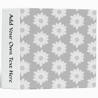 Water Lily Pattern in Light Gray. 3 Ring Binders