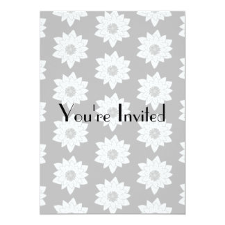 Water Lily Pattern in Light Gray. 5x7 Paper Invitation Card