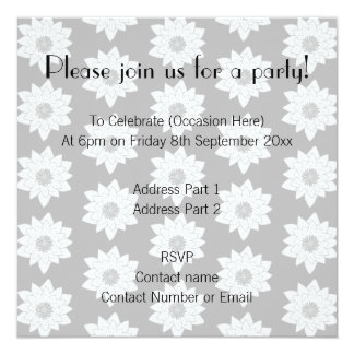 Water Lily Pattern in Light Gray. 5.25x5.25 Square Paper Invitation Card