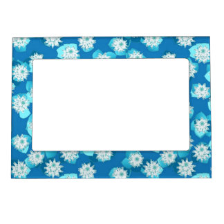 Water Lily pattern, turquoise, blue and white Magnetic Picture Frame