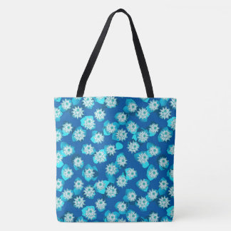 Water Lily pattern, turquoise, blue and white Tote Bag