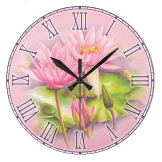 Water lily pink fine art botanical wall clock