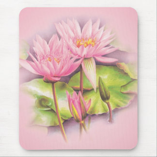 Water lily pink fine art floral mouse mat mouse pad