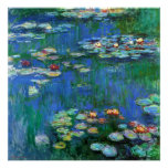 Water Lily Pond in Blue Impressionism Posters