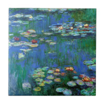 Water Lily Pond in Blue Impressionism Tile