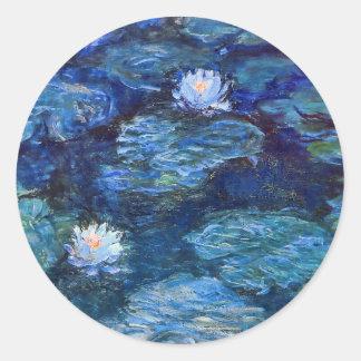 Water Lily Pond in Blue Monet Fine Art Classic Round Sticker