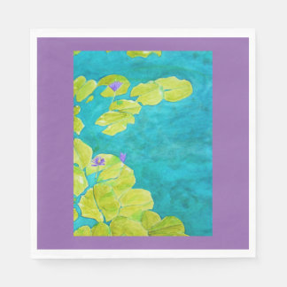 Water lily pond in watercolor paper napkin