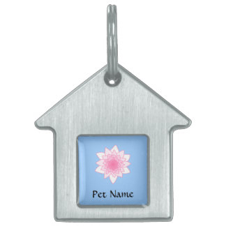 Water Lily. Pretty Pink and Pale Blue. Pet Tag