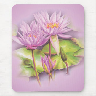 Water lily purple fine art floral mouse mat mouse pad
