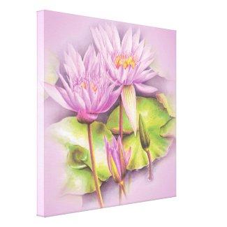 Water lily purple flowers floral canvas print wrappedcanvas