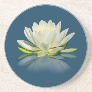 Water Lily Reflected on Blue Water Sandstone Coast Drink Coaster