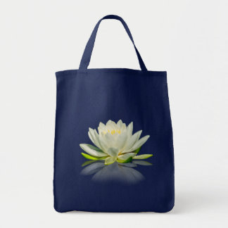 Water Lily Reflected on Blue Water Tote Bag