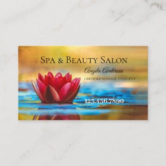Water Lily Spa Beauty Massage Business Card