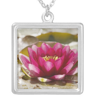 Water lily square pendant necklace