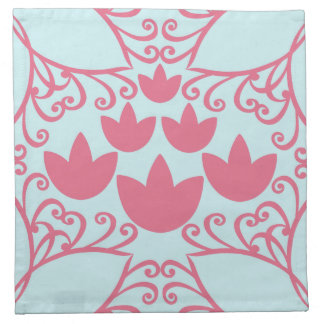 Water Lily Swirl Pink and Aqua Blue Cloth Napkins