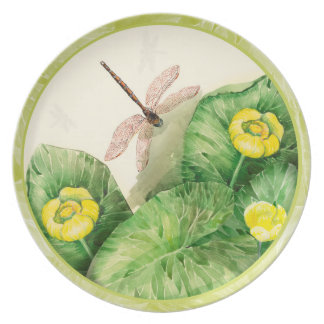 water-lily watercolor dinner plate
