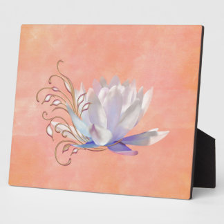 Water Lily with Decorative Swirls Photo Plaque