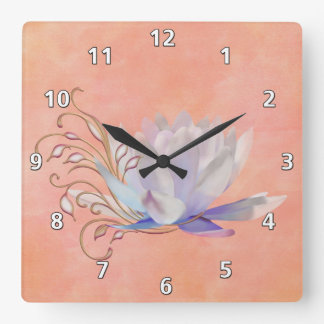 Water Lily with Decorative Swirls Square Wall Clock