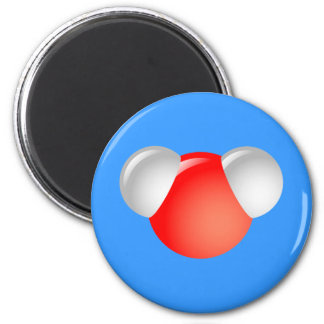 Water Molecule H2O 2 Inch Round Magnet