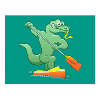 Water monitor competing in a canoe sprint event postcard
