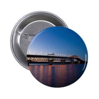 Water Night Time Light Over Bridge Pinback Button