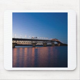 Water Night Time Light Over Bridge Mousepads