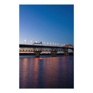 Water Night Time Light Over Bridge Stationery